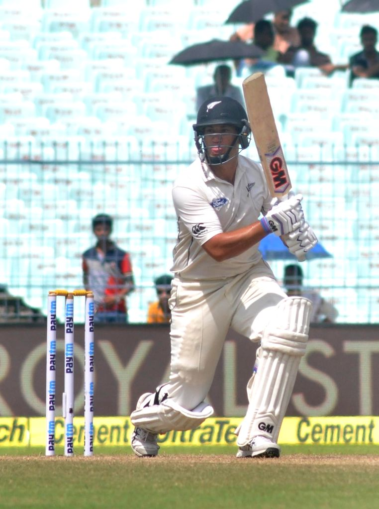 New Zealand cricketer Ross Taylor in action on Day 2 of the Second Test Match between India and New Zealand at Eden Gardens in Kolkata on Oct 1, 2016.