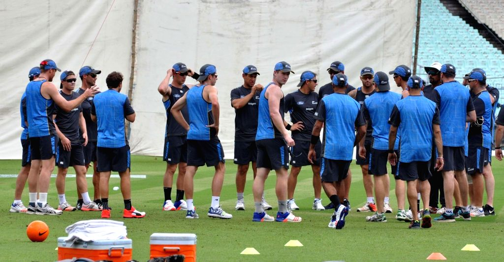 New Zealand cricketers during a practice session at Eden Gardens in Kolkata on Sept 29, 2016.