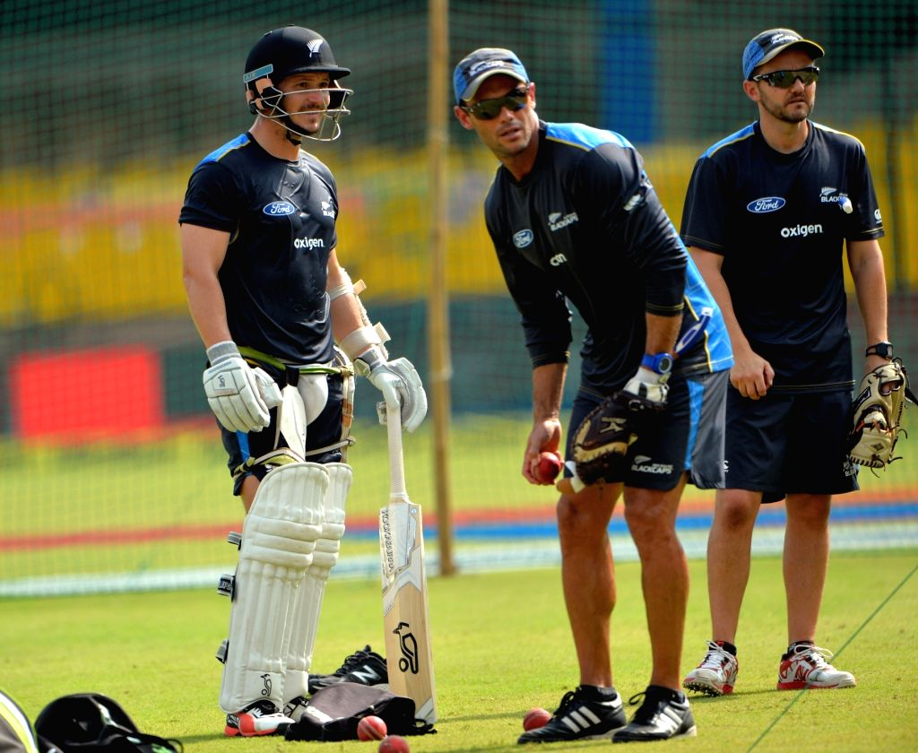 New Zealand cricketers during a practice session at Holkar Stadium ahead of the Third Test match against India in Indore on Oct 7, 2016.