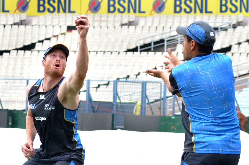 New Zealand cricketers Martin Guptill and Ross Taylor during a practice session at Eden Gardens in Kolkata on Sept 29, 2016.