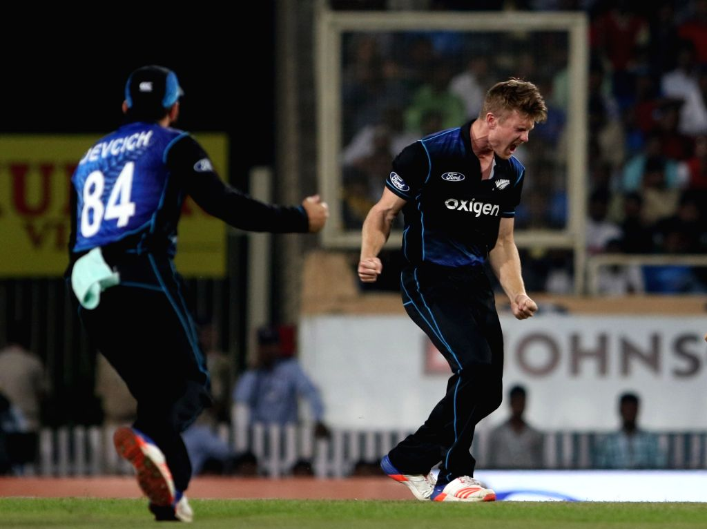 New Zealand player Jimmy Neesham celebrates fall of a wicket during the fourth ODI match between India and New Zealand at JSCA International Stadium Complex in Ranchi on Oct 26, 2016.