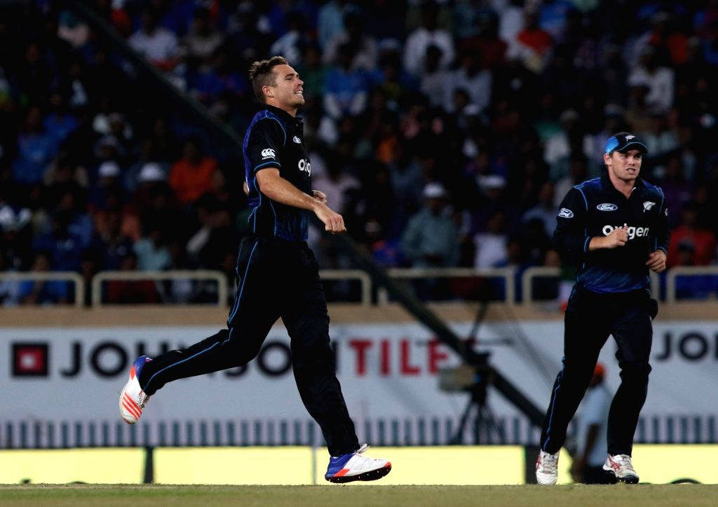 New Zealand player Tim Southee celebrates fall of a wicket during the fourth ODI match between India and New Zealand at JSCA International Stadium Complex in Ranchi on Oct 26, 2016.