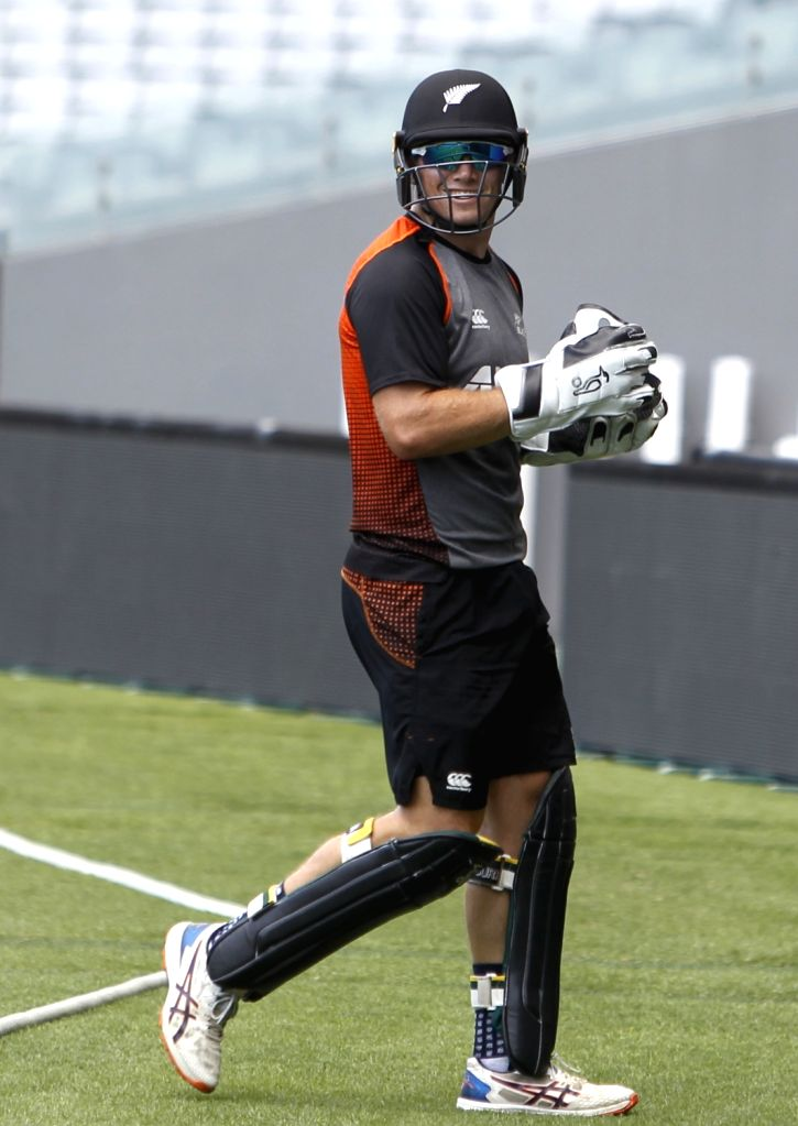 New Zealand player Tom Latham during a practice session ahead of the 2nd ODI against New Zealand at Auckland in New Zealand on Feb 7, 2020.