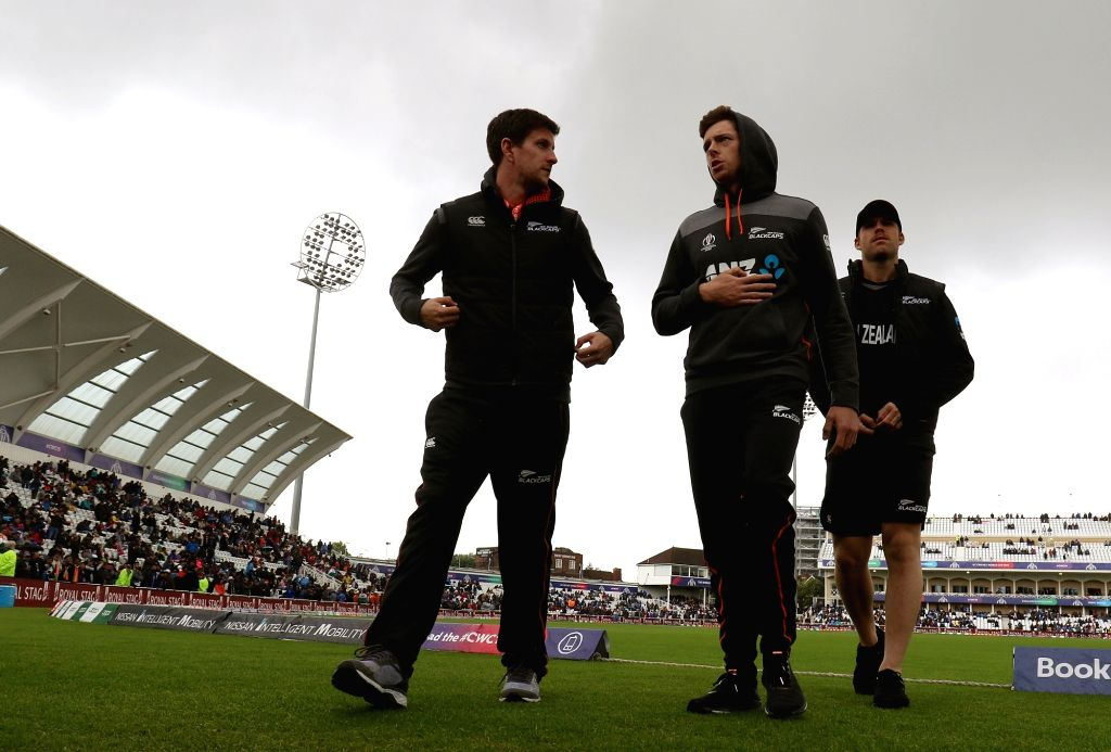 New Zealand players at the Trent Bridge Cricket Ground ahead of their 18th Match of World Cup 2019 against India that has been delayed due to rains in Nottingham, England on June 13, 2019.