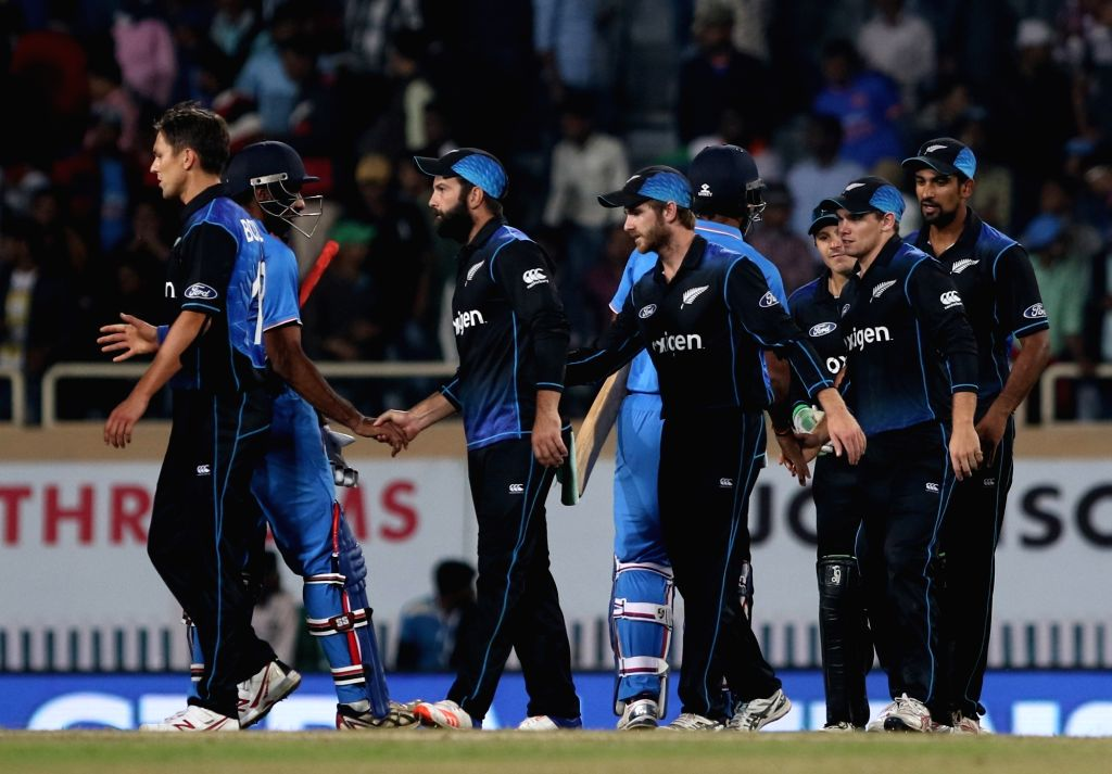 New Zealand players celebrate after winning the fourth ODI match between India and New Zealand at JSCA International Stadium Complex in Ranchi on Oct 26, 2016.
