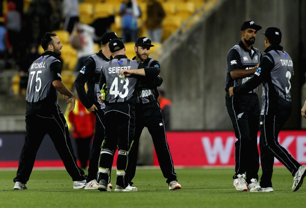 New Zealand players celebrate after winning the first T20I match against India at Westpac Stadium in Wellington, New Zealand on Feb 6, 2019.