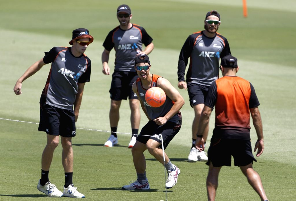 New Zealand players during a practice session ahead of the 3rd ODI against India, at the Bay Oval in Tauranga, New Zealand on Feb 10, 2020.