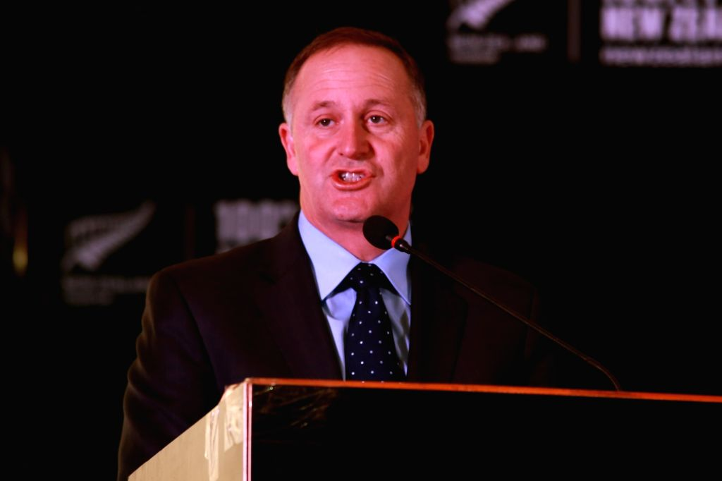 New Zealand Prime Minister John Key addresses during a press conference in New Delhi on Oct 27,2016. - John Key