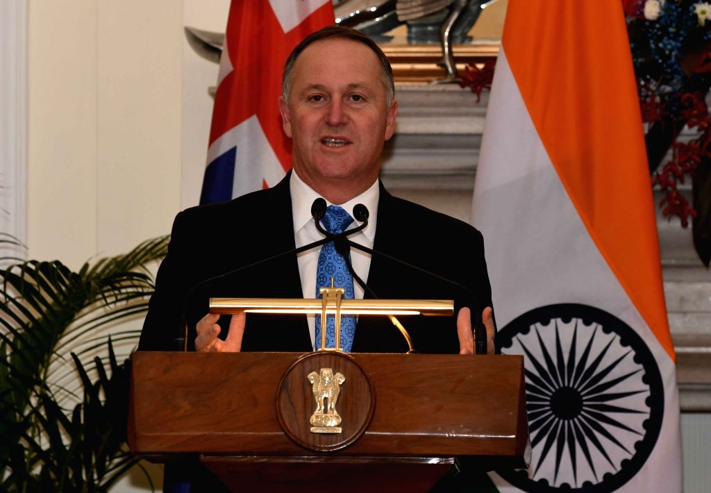 New Zealand Prime Minister John Key addresses a press conference at Hyderabad House, in New Delhi on Oct 26, 2016. - John Key