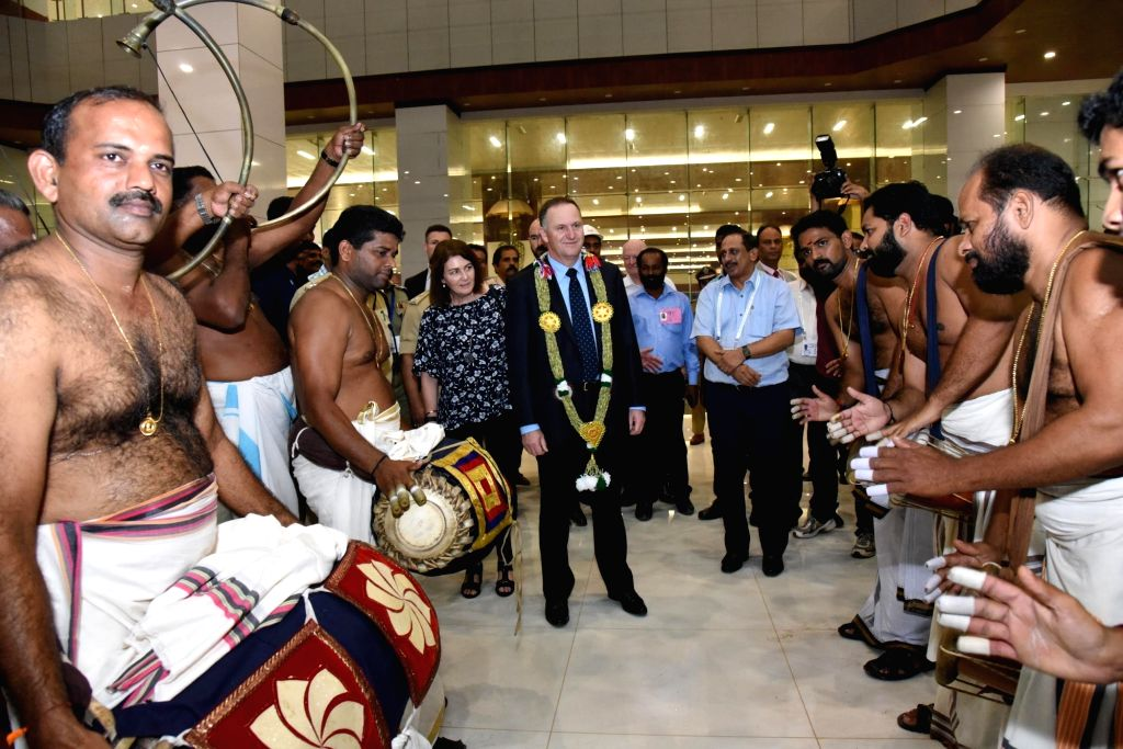New Zealand Prime Minister John Key and his wife Bronagh Key receive a traditional welcome at Cochin International Airport on Oct 27, 2016. - John Key