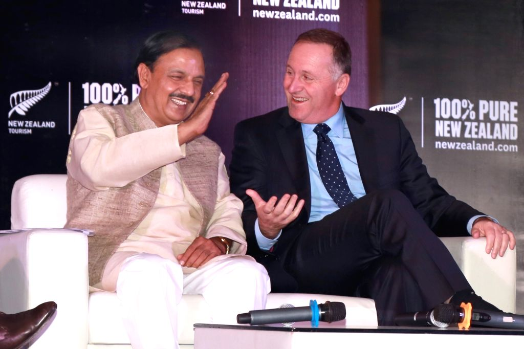 New Zealand Prime Minister John Key and Union Tourism and Culture Minister Dr Mahesh Sharma during a press conference in New Delhi on Oct 27,2016. - John Key and Mahesh Sharma