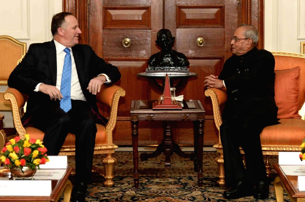New Zealand Prime Minister John Key calls on President Pranab Mukherjee at Rashtrapati Bhavan, in New Delhi on Oct 26, 2016. - John Key and Pranab Mukherjee