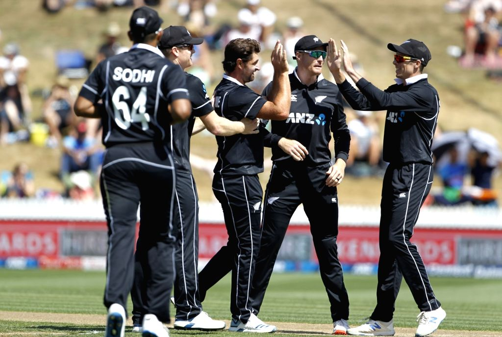 New Zealand's Colin de Grandhomme celebrates the wicket of Prithvi Shaw with teammates during the 1st ODI of the three-match series between India and New Zealand at the Seddon Park in ...