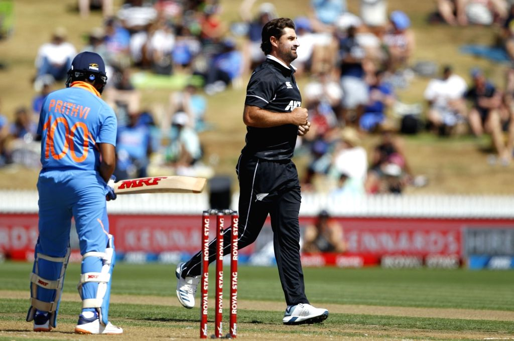 New Zealand's Colin de Grandhomme celebrates the wicket of Prithvi Shaw during the 1st ODI of the three-match series between India and New Zealand at the Seddon Park in Hamilton, New ...