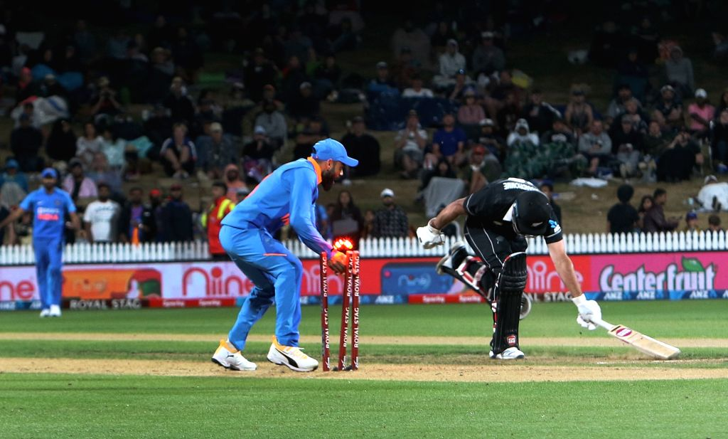 New Zealand's Colin de Grandhomme run out during the 1st ODI of the three-match series between India and New Zealand at the Seddon Park in Hamilton, New Zealand on Feb 5, 2020.