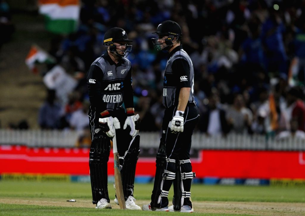 New Zealand's Colin Munro and Tim Seifert during the third T20I match between India and New Zealand at Seddon Park in Hamilton, New Zealand on Feb 10, 2019.