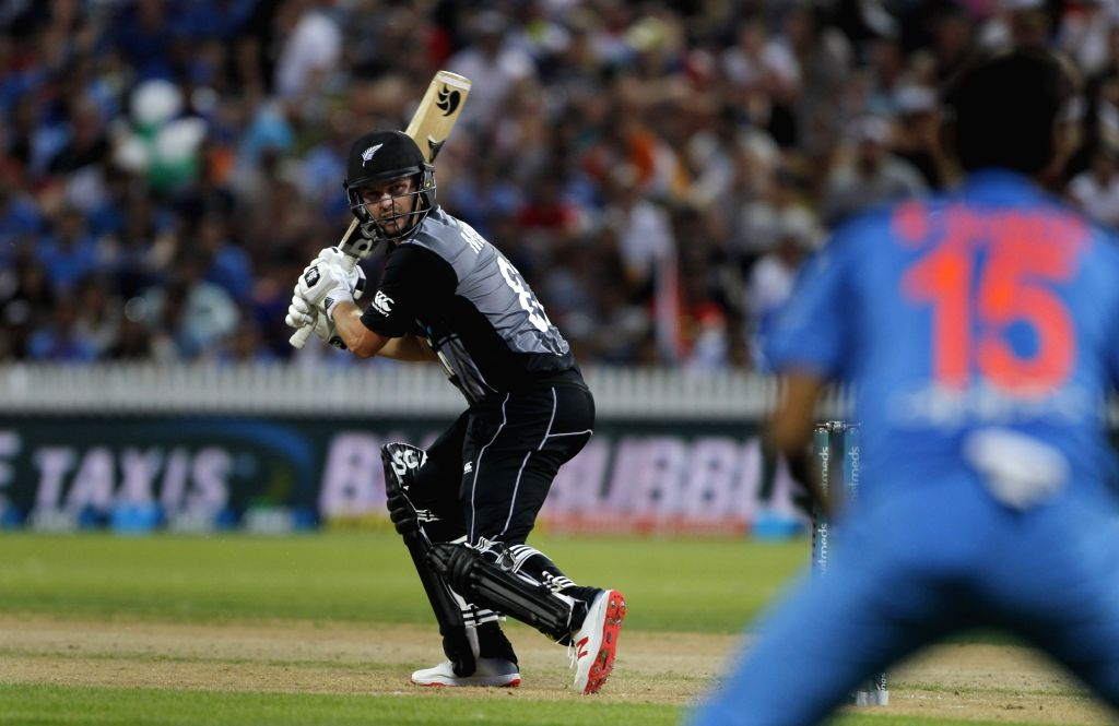 New Zealand's Colin Munro in action during the third T20I match between India and New Zealand at Seddon Park in Hamilton, New Zealand on Feb 10, 2019.