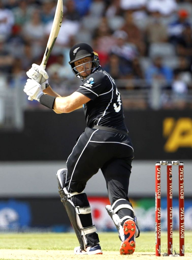 New Zealand's cricketer Martin Guptill in action during the 2nd ODI of the three-match series between India and New Zealand at the Eden Park in Auckland,New Zealand on Feb 8, 2020.