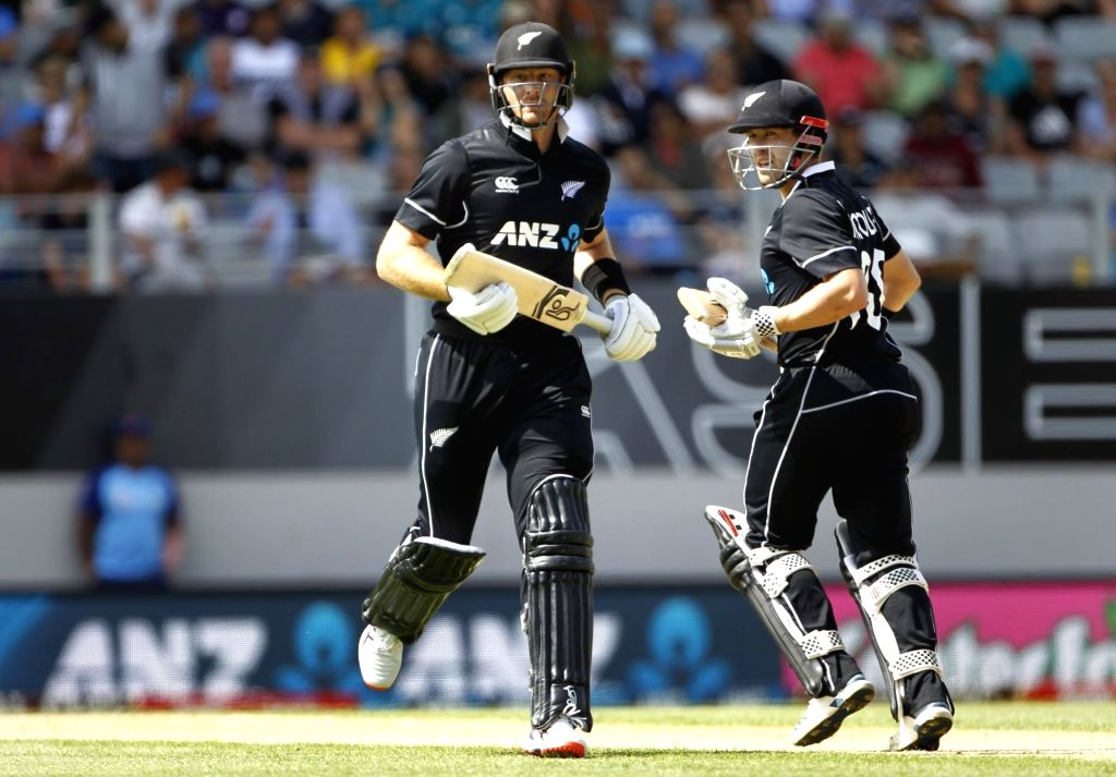 New Zealand's cricketers Martin Guptill and Henry Nicholls in action during the 2nd ODI of the three-match series between India and New Zealand at the Eden Park in Auckland,New Zealand on ...