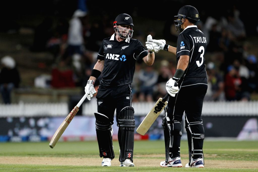New Zealand's Henry Nicholls and Ross Taylor during the 1st ODI of the three-match series between India and New Zealand at the Seddon Park in Hamilton, New Zealand on Feb 5, 2020.