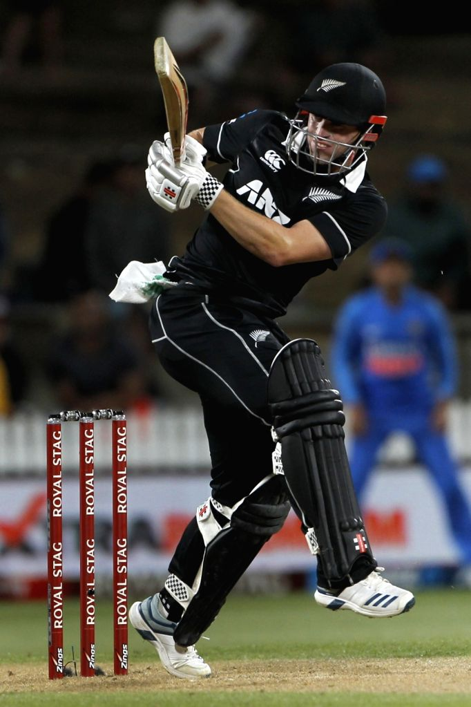 New Zealand's Henry Nicholls in action during the 1st ODI of the three-match series between India and New Zealand at the Seddon Park in Hamilton, New Zealand on Feb 5, 2020.