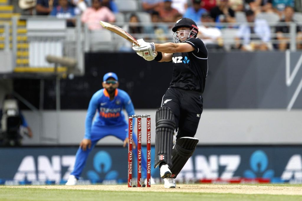 New Zealand's Henry Nicholls in action during the 2nd ODI of the three-match series between India and New Zealand at the Eden Park in Auckland,New Zealand on Feb 8, 2020.