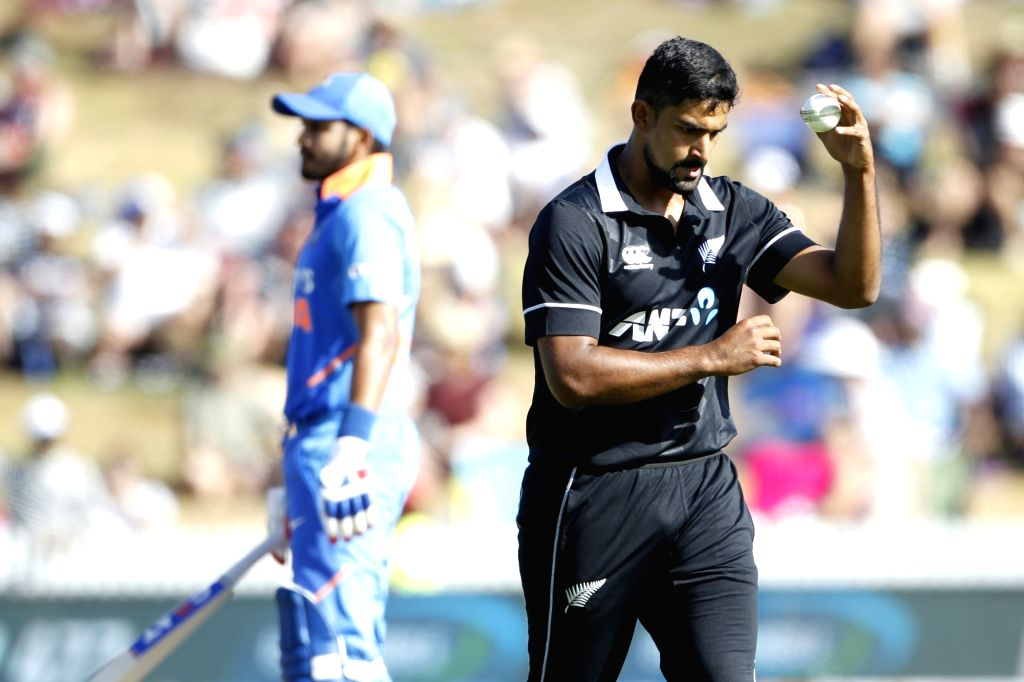 New Zealand's Ish Sodhi during the 1st ODI of the three-match series between India and New Zealand at the Seddon Park in Hamilton, New Zealand on Feb 5, 2020.