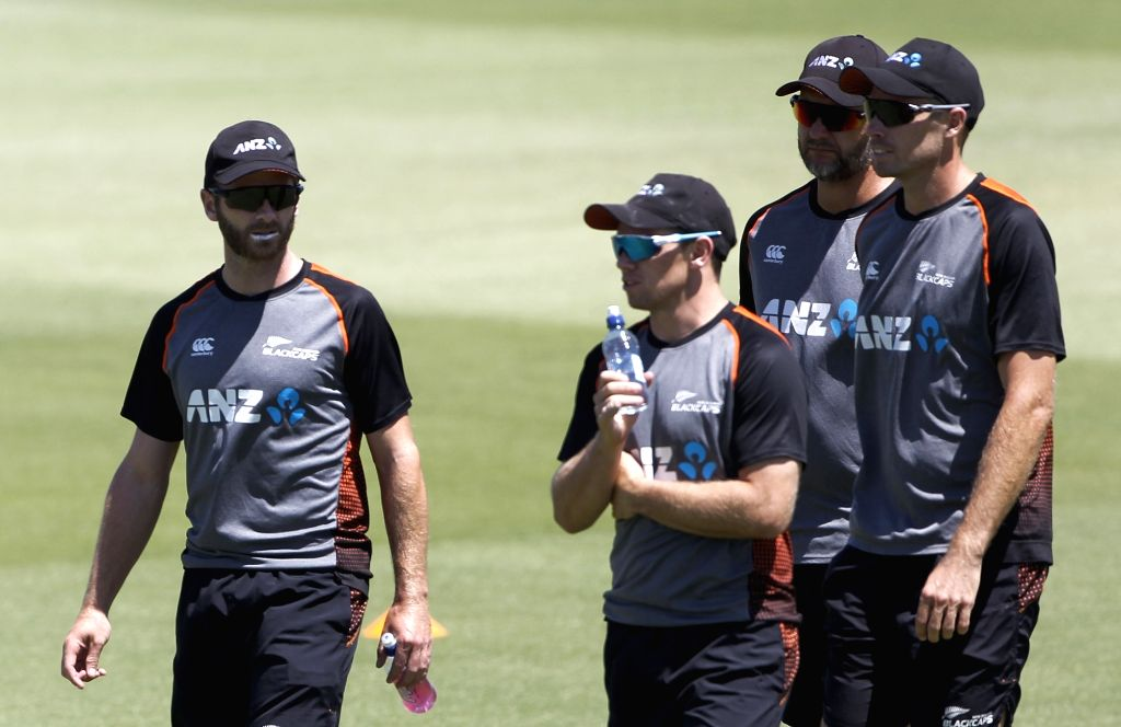 New Zealand's Kane Williamson and Tom Latham during a practice session ahead of the 3rd ODI against India, at the Bay Oval in Tauranga, New Zealand on Feb 10, 2020.