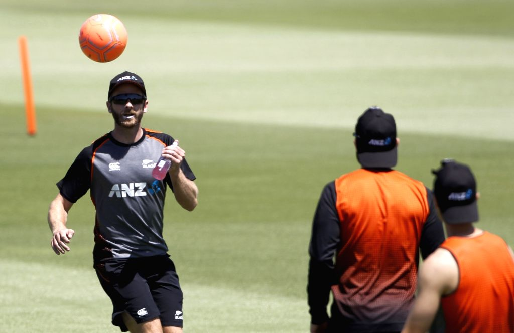 New Zealand's Kane Williamson during a practice session ahead of the 3rd ODI against India, at the Bay Oval in Tauranga, New Zealand on Feb 10, 2020.