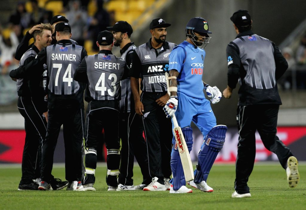 New Zealand's Lockie Ferguson celebrates fall of Shikhar Dhawan's wicket during the first T20I match between India and New Zealand at Westpac Stadium in Wellington, New Zealand on Feb 6, ...