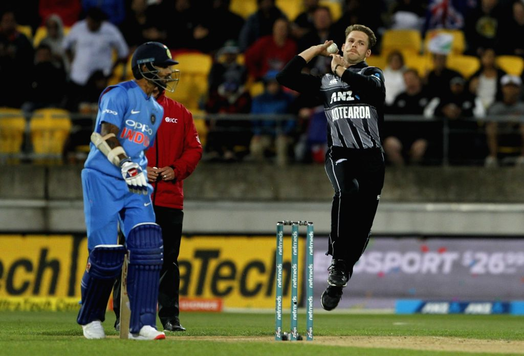 New Zealand's Lockie Ferguson in action during the first T20I match between India and New Zealand at Westpac Stadium in Wellington, New Zealand on Feb 6, 2019.