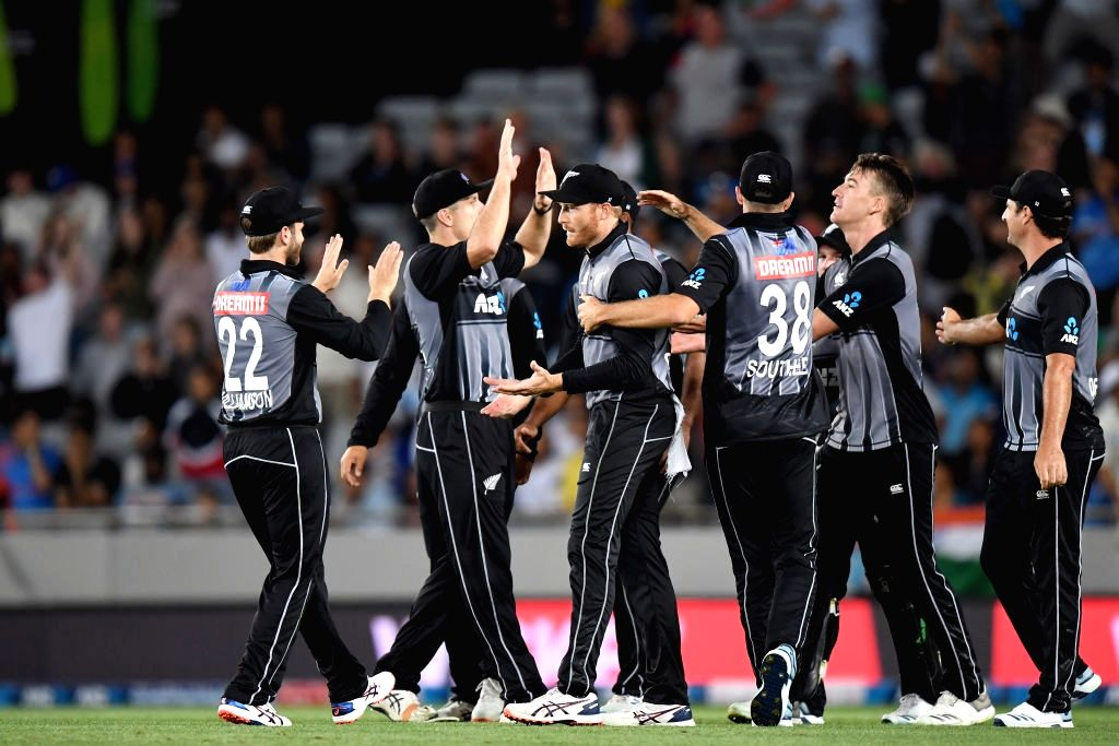 New Zealand's Martin Guptill celebrates the dismissal of Virat Kohli with teammates during the first T20I of the five-game series between India and New Zealand at Eden Park in Auckland, New ... - Virat Kohli