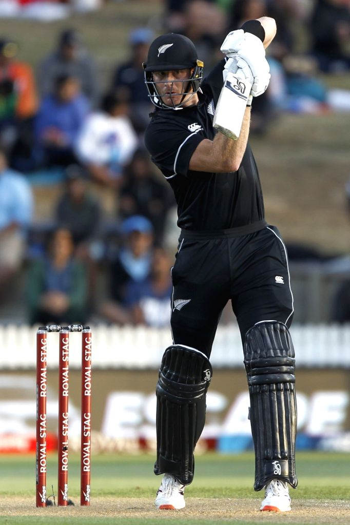 New Zealand's Martin Guptill in action during the 1st ODI of the three-match series between India and New Zealand at the Seddon Park in Hamilton, New Zealand on Feb 5, 2020.
