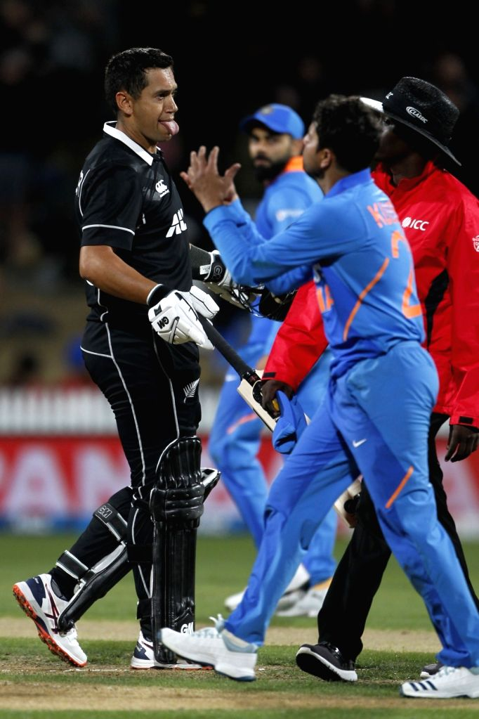 New Zealand's Ross Taylor celebrates his century during the 1st ODI of the three-match series between India and New Zealand at the Seddon Park in Hamilton, New Zealand on Feb 5, 2020.