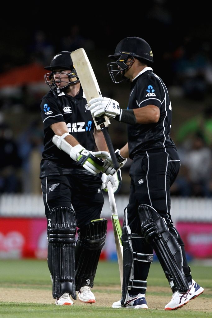 New Zealand's Ross Taylor celebrates his half century during the 1st ODI of the three-match series between India and New Zealand at the Seddon Park in Hamilton, New Zealand on Feb 5, 2020.