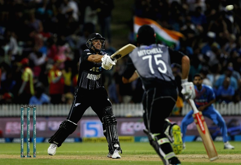 New Zealand's Ross Taylor in action during the third T20I match between India and New Zealand at Seddon Park in Hamilton, New Zealand on Feb 10, 2019.
