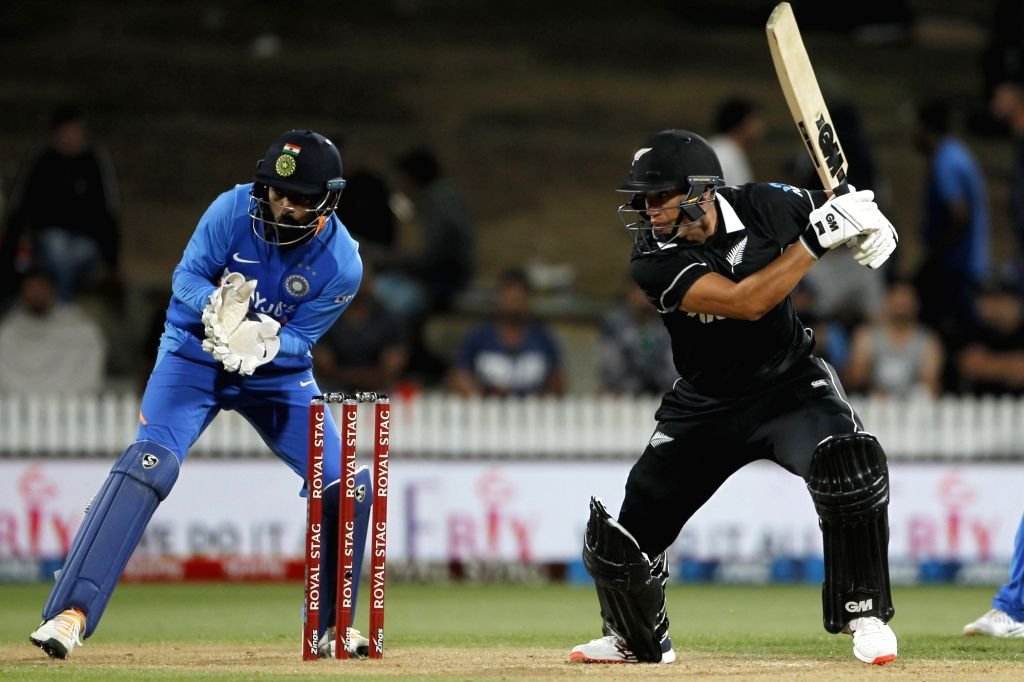 New Zealand's Ross Taylor in action during the 1st ODI of the three-match series between India and New Zealand at the Seddon Park in Hamilton, New Zealand on Feb 5, 2020.