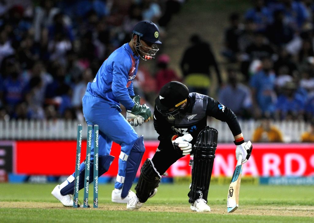 New Zealand's Tim Seifert gets dismissed during the third T20I match between India and New Zealand at Seddon Park in Hamilton, New Zealand on Feb 10, 2019.