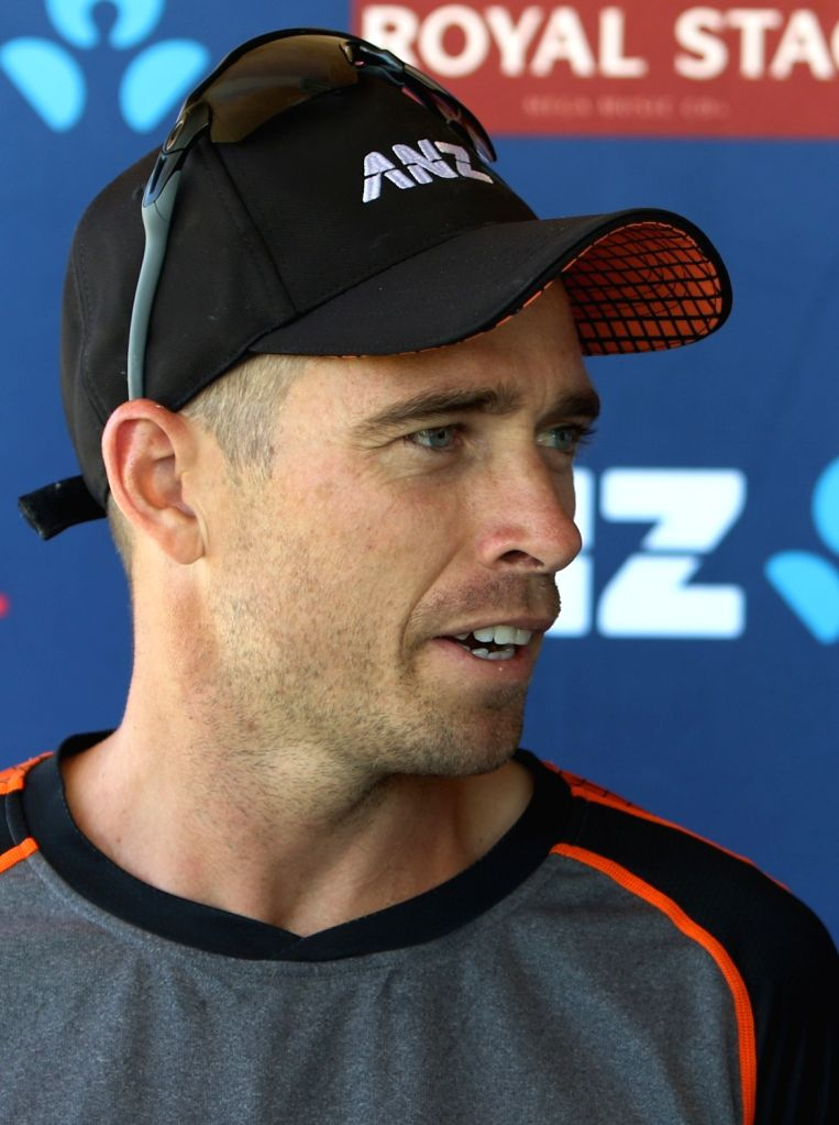 New Zealand's Tim Southee addresses a press conference ahead of the 3rd ODI against India, at the Bay Oval in Tauranga, New Zealand on Feb 10, 2020.