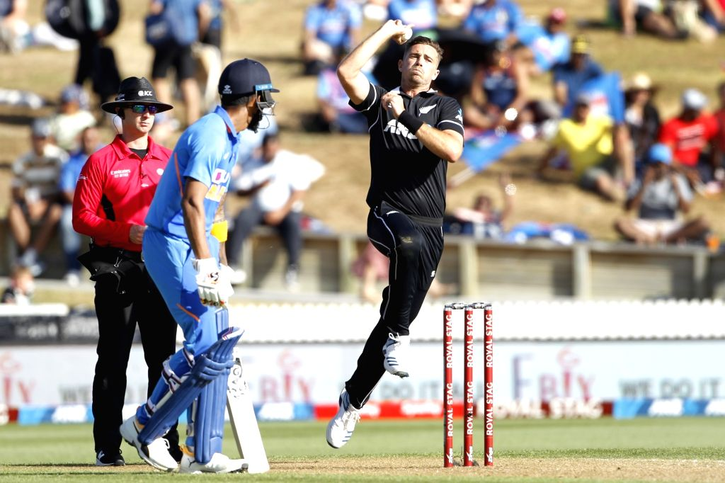 New Zealand's Tim Southee in action during the 1st ODI of the three-match series between India and New Zealand at the Seddon Park in Hamilton, New Zealand on Feb 5, 2020.
