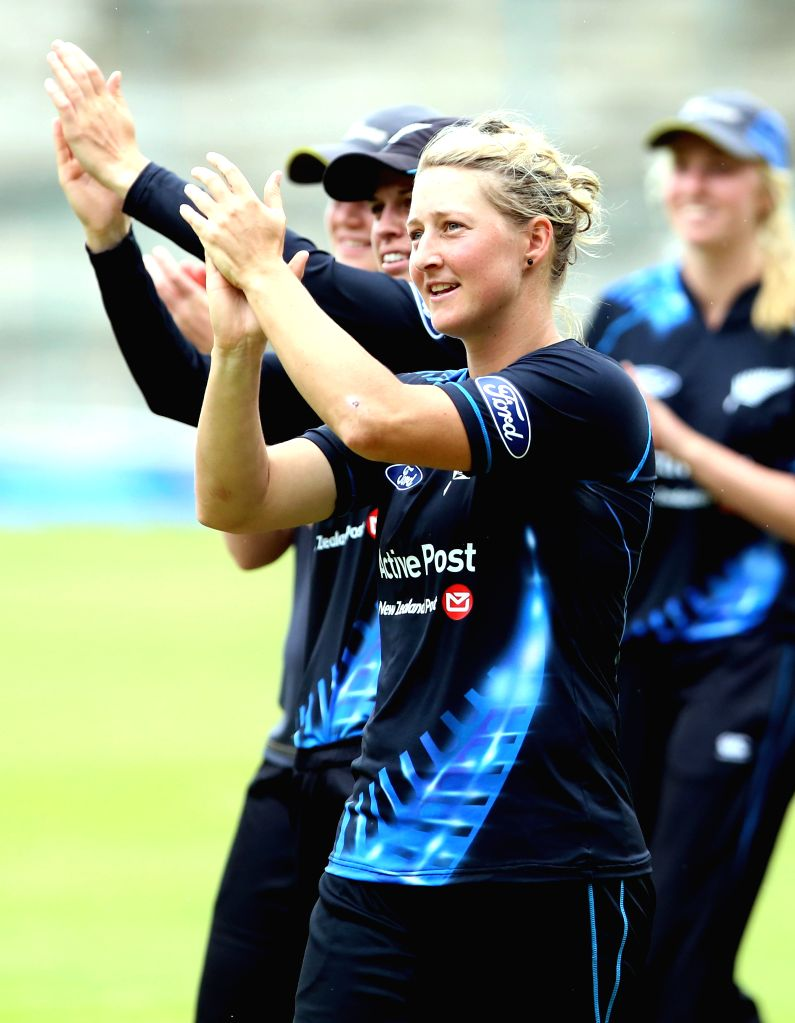 New Zealand women cricketer Sophie Devine during 1st T20I match between India and New Zealand at Chinnasawamy Stadium, in Bengaluru on July 11, 2015.