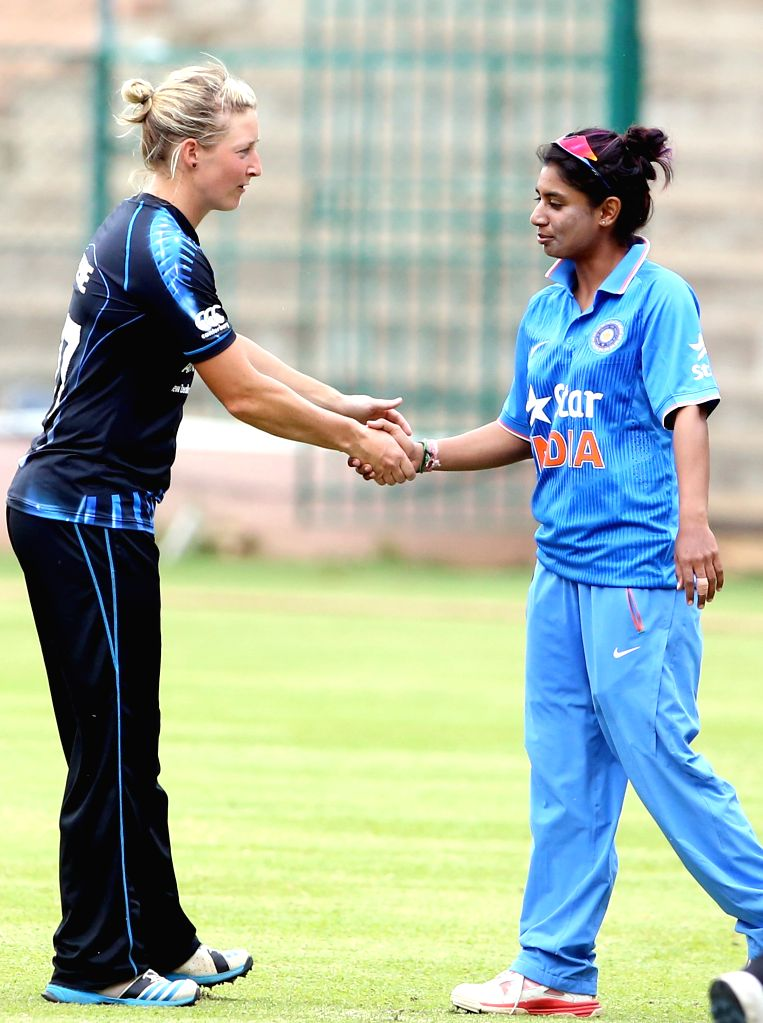 New Zealand women cricketer Sophie Devine shake hands with the Indian women captain Mithali Raj during 1st T20I match between India and New Zealand at Chinnasawamy Stadium, in Bengaluru on ... - Mithali Raj