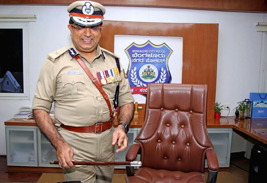 Newly appointed Bengaluru City Police Commissioner Bhaskar Rao takes charge at Police Commissioner's office, in Bengaluru on Aug 2, 2019.