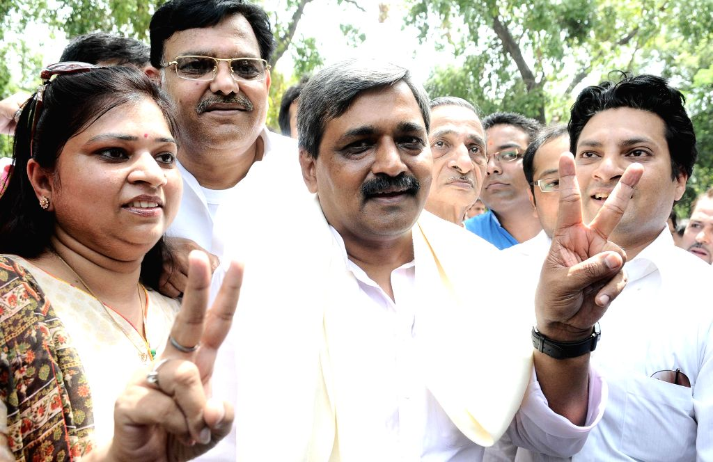 Newly appointed Delhi BJP chief Satish Upadhyay at BJP office in New Delhi on July 9, 2014.