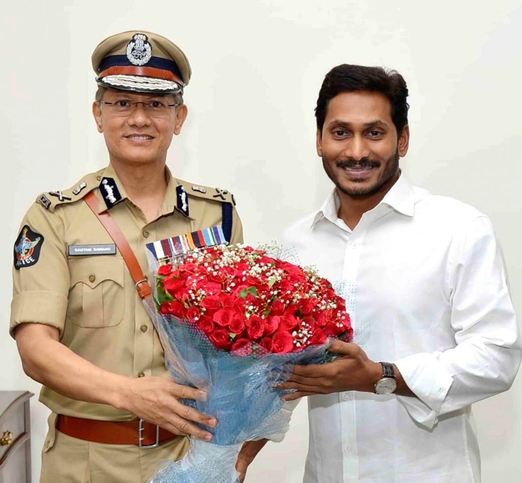 Newly appointed DGP of Andhra Pradesh, D. Gautam Sawang calls on Andhra Pradesh Chief Minister Y. S. Jagan Mohan Reddy after taking charge, in Vijayawada on June 1, 2019. - Y. S. Jagan Mohan Reddy