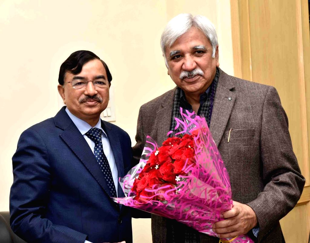 Newly-appointed Election Commissioner Sushil Chandra meets Chief Election Commissioner (CEC) Sunil Arora in New Delhi, on Feb 18, 2019. - Sunil Arora