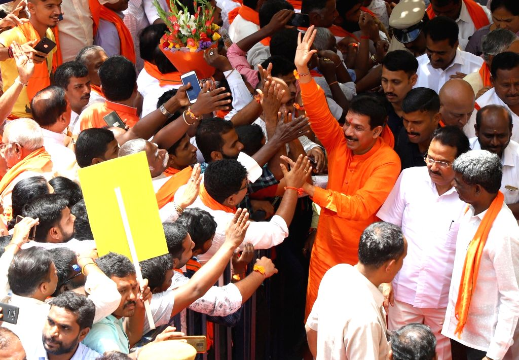 Newly appointed Karnataka BJP President Nalin Kumar Kateel receives a warm welcome during his felicitation programme at party office in Bengaluru on Aug 27, 2019. - Nalin Kumar Kateel