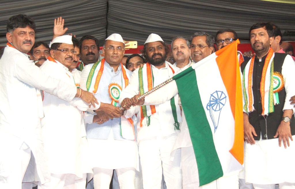 Newly appointed Karnataka Congress president Dinesh Gundu Rao addresses at a party programme where he along with Eshwara Khandre took charge as Karnataka Congress president and working ... - Dinesh Gundu Rao