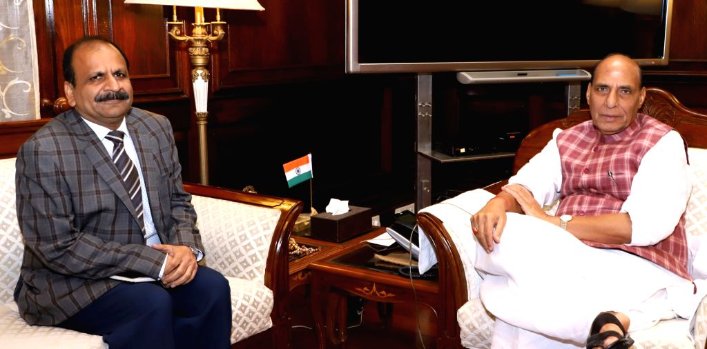 Newly appointed National Investigation Agency (NIA) DG (Designate) Y.C. Modi calls on Union Home Minister Rajnath Singh in New Delhi on Sept 18, 2017. - Rajnath Singh and C. Modi