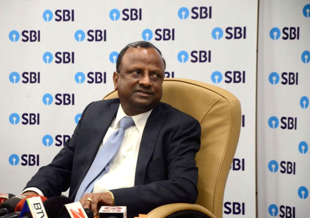 Newly appointed SBI Chairman Rajnish Kumar during a press conference at SBI Headquarters in Mumbai, on Oct 5, 2017. - Rajnish Kumar